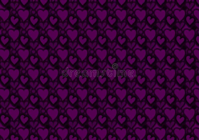 Purpurrote Herzen und Kreismustertapete lizenzfreie abbildung