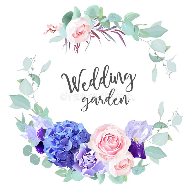 Purpurrote Hortensie, Rosarose, violette Iris, Gartennelke, blaue Minze e vektor abbildung