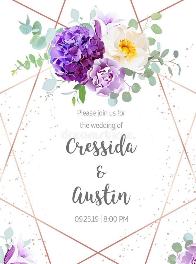 Purpurrote Hortensie, violette Gartennelke, wilde Rose, Glockenblume, euca vektor abbildung