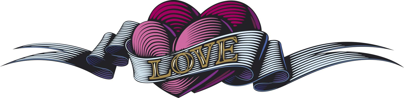 Purpurrote Innere in der Liebe stock abbildung