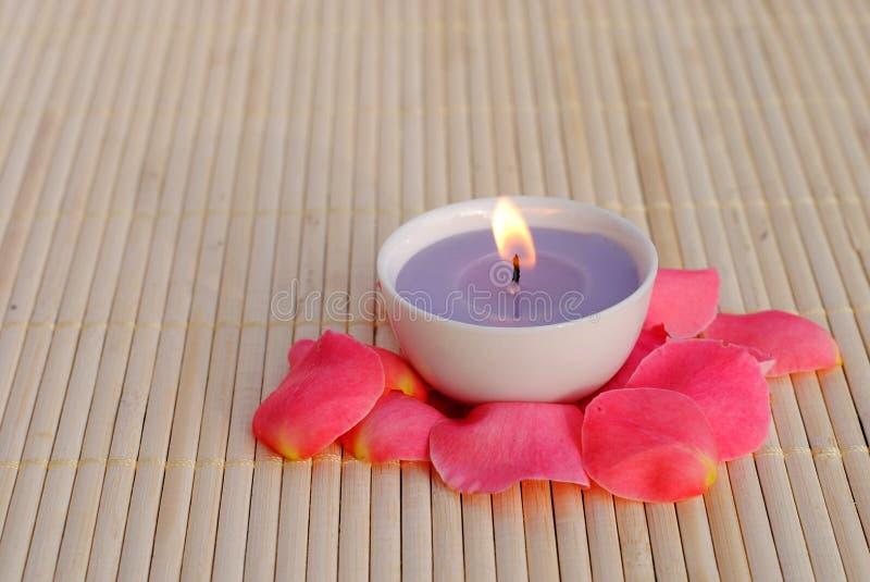 Purpurrote Kerze mit den rosafarbenen Blumenblättern stockfotografie