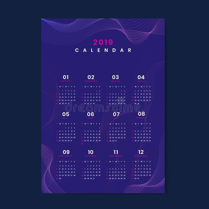 Purpurrote Kontur kopierter Kalendervektor 2019 stock abbildung