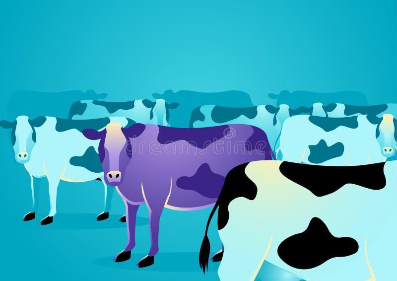 Purpurrote Kuh stehen heraus von den gewöhnlichen Kühen lizenzfreie abbildung