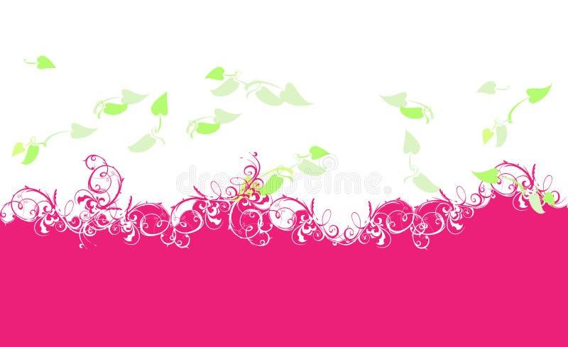 Purpurrote Kurven und Grün-Blätter lizenzfreie abbildung