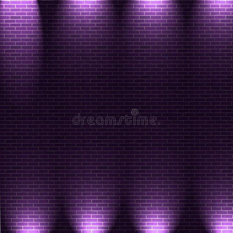 Purpurrote Leuchten auf Wand der Ziegelsteine stock abbildung