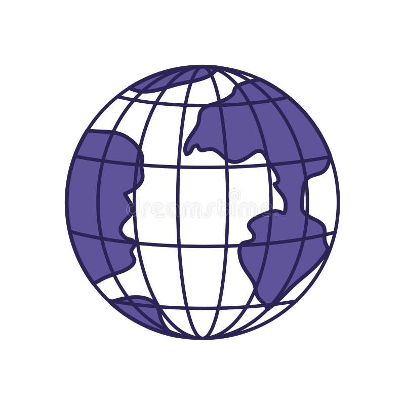 Purpurrote Linie Kontur der Erdkugel mit Meridianen und Ähnlichkeiten stock abbildung