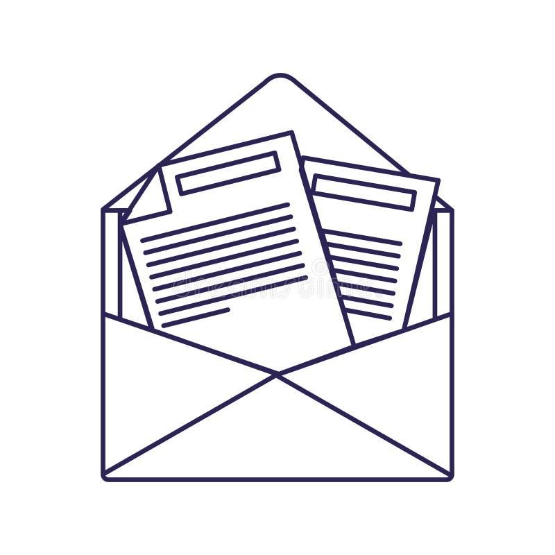 Purpurrote Linie Kontur der geöffneten Umschlagpost vektor abbildung