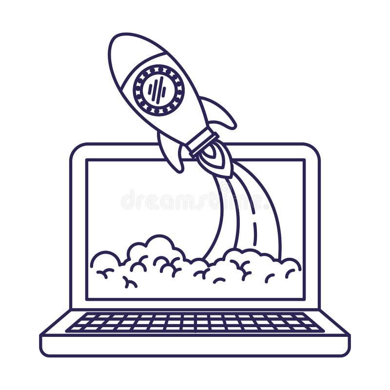 Purpurrote Linie Kontur der Laptop-Computers und der Weltraumrakete vektor abbildung