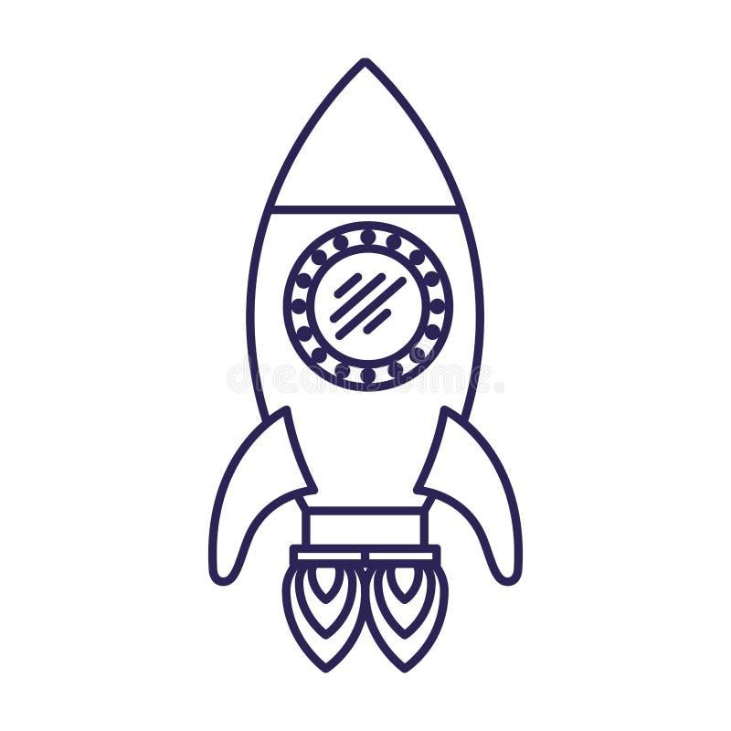 Purpurrote Linie Kontur der Weltraumrakete mit zwei Turbinen lizenzfreie abbildung