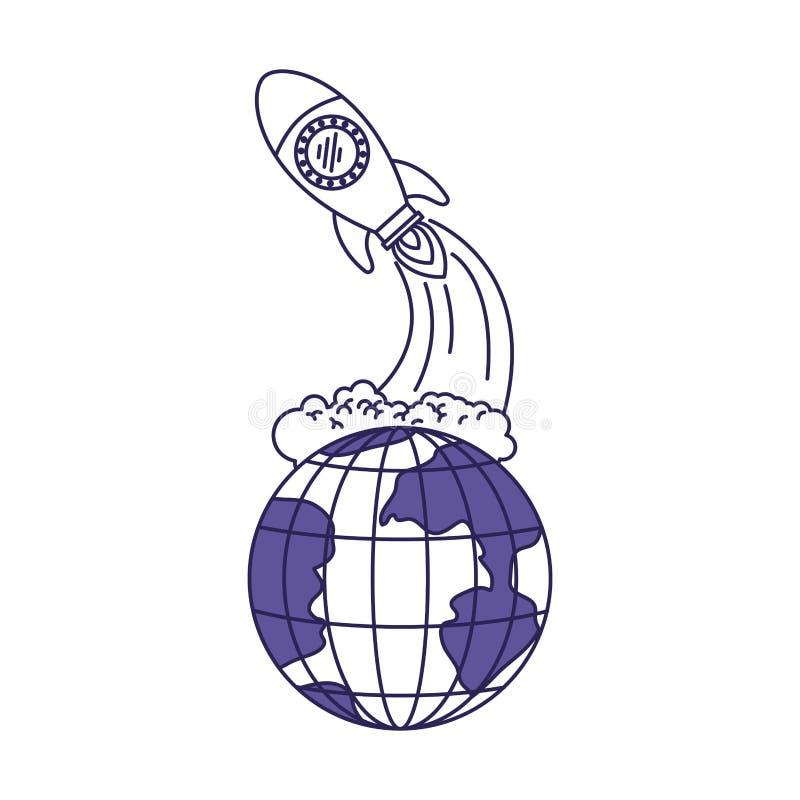 Purpurrote Linie Kontur des Erdkugel- und -Weltraumraketestartens vektor abbildung