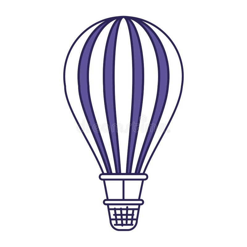 Purpurrote Linie Kontur des Heißluftballons lizenzfreie abbildung