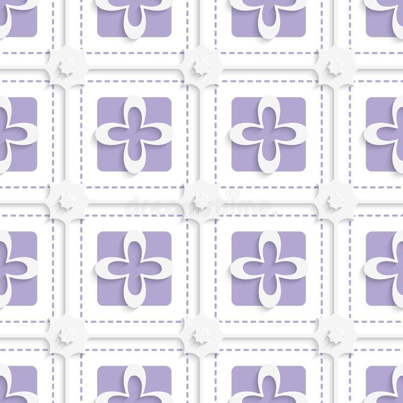 Purpurrote Quadrate und Muster der weißen Blumen vektor abbildung