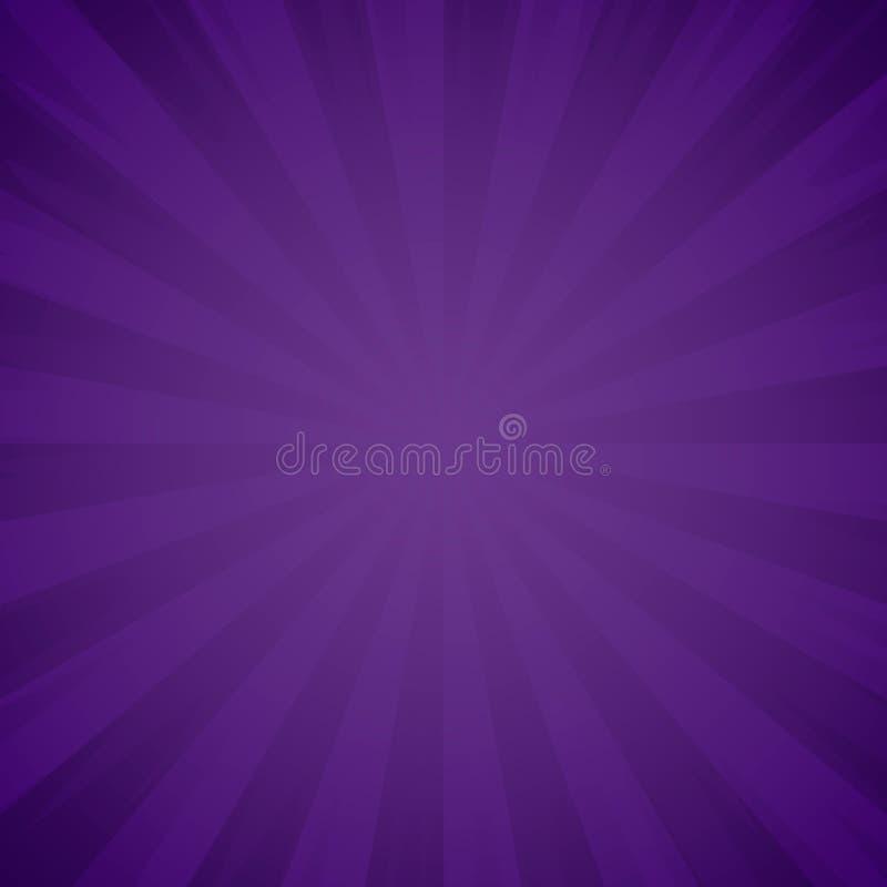 Purpurrote Schmutzhintergrundbeschaffenheit Sonnendurchbruch, Effekt der hellen Strahlen Explosion und strahlen violette Strahlen vektor abbildung