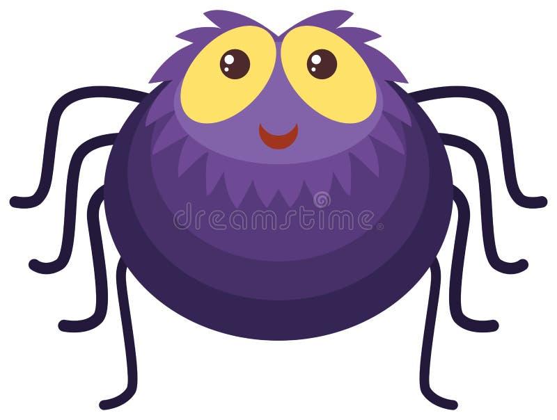 Purpurrote Spinne mit glücklichem Gesicht lizenzfreie abbildung