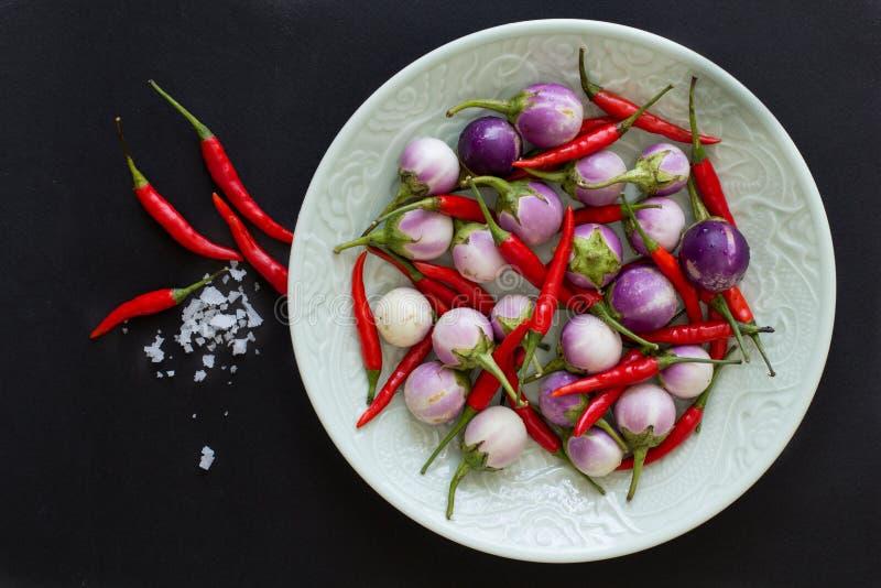 Purpurrote thailändische Auberginen und Pfeffer des scharfen Paprikas auf einer grünen Platte und nahe gelegenes mit Salzkristall stockfotografie