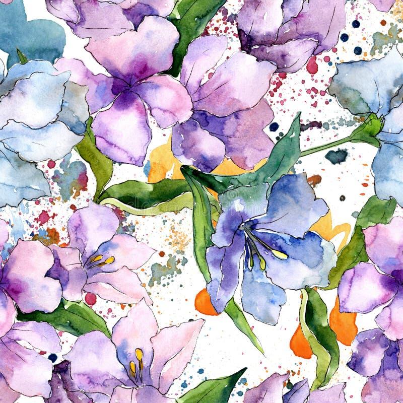 Purpurrote und blaue Alstroemeriablumen Botanische mit Blumenblume Nahtloses Hintergrundmuster lizenzfreie abbildung