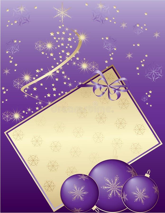 Purpurrote Weihnachtskarte stock abbildung