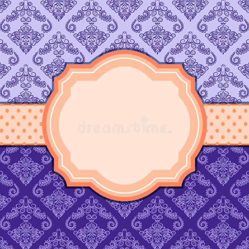 Purpurrote Weinlese-Damast-Karte mit Aufkleber. stock abbildung