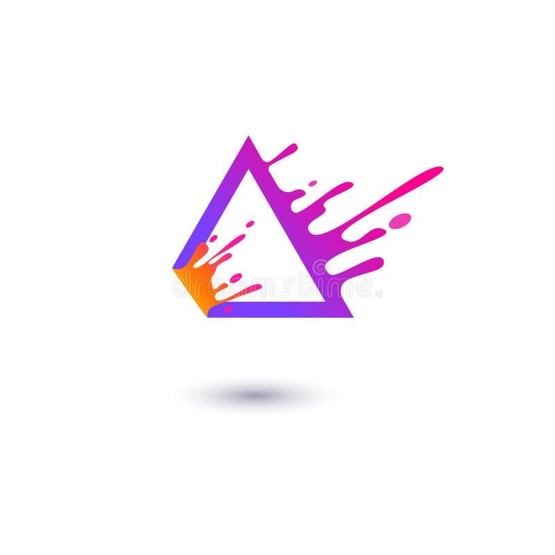 Purpurroter Dreieckrahmen mit der flüssigen Kontur, die in der flachen Art der Bewegung spritzt stock abbildung
