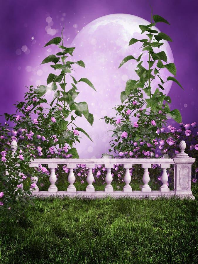 Purpurroter Garten mit einem Zaun lizenzfreie abbildung