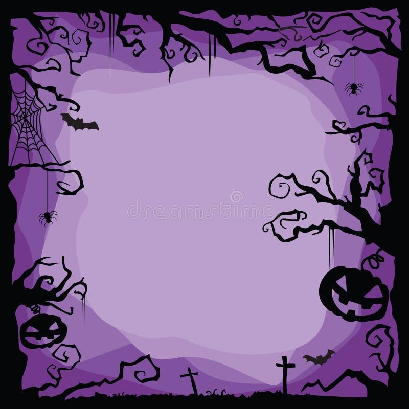 Purpurroter Hintergrund Halloweens mit Fliegen schlägt, Spinnen, Netz, Spinnennetz, Kürbise, Gräber, Baum stock abbildung