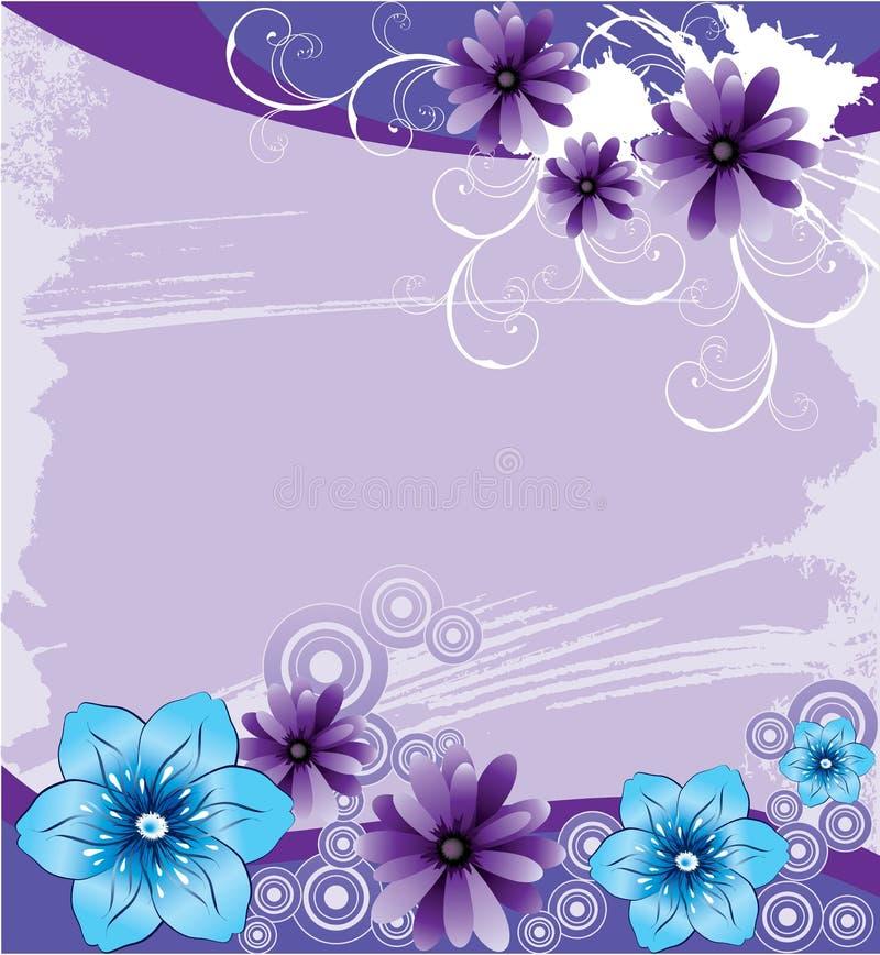 Purpurroter Hintergrund mit abstrakten Blumen lizenzfreie abbildung