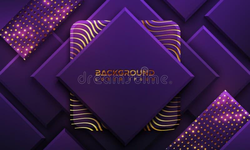 Purpurroter Hintergrund mit Art 3D Luxushintergrund mit einer Kombination von Punkten und von Linien Hintergrund des Vektor Eps10 vektor abbildung