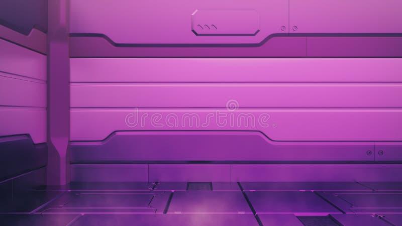 Purpurroter Innenraum Protons mit leerem Stadium Moderner zukünftiger Hintergrund High-Teches Konzept der Technologie-Sciencefict lizenzfreie stockfotografie