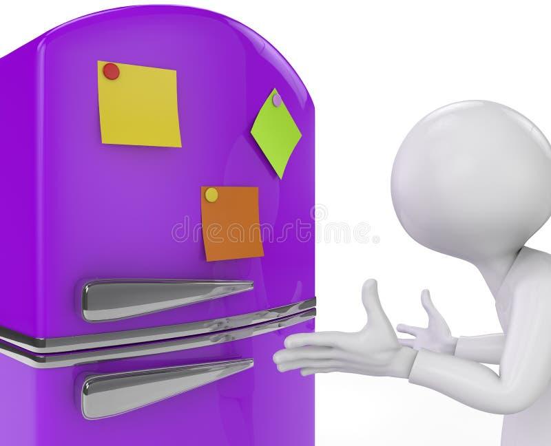 Purpurroter Kühlschrank mit farbiger klebriger Anmerkungsnahaufnahme. 3D übertragen. stock abbildung