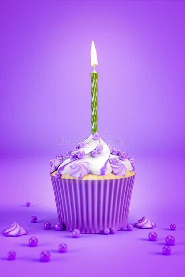 purpurroter kleiner Kuchen mit einer grünen Kerze stock abbildung