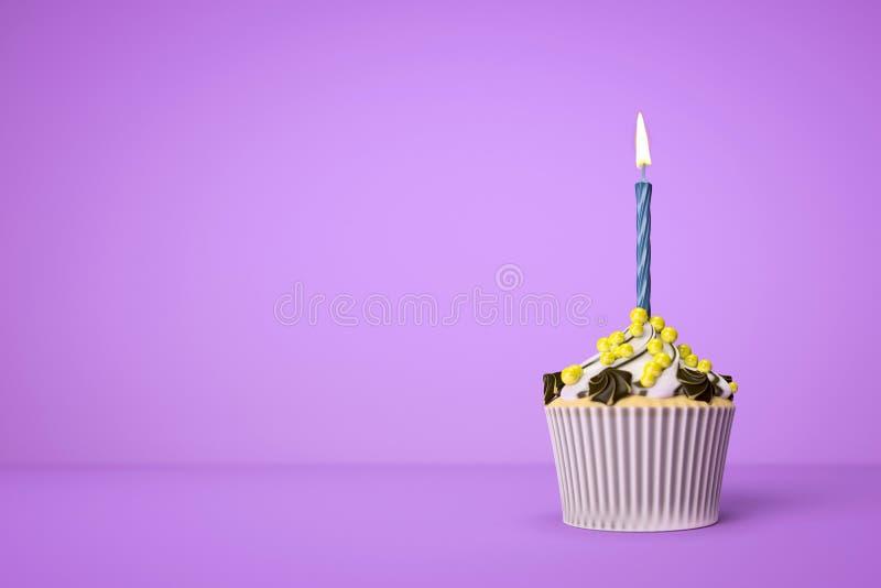 purpurroter kleiner Kuchen mit einer Kerze lizenzfreie abbildung