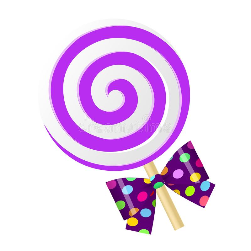 Purpurroter Lutscher der netten Karikatur des Spaßes mit Bogen Auch im corel abgehobenen Betrag stock abbildung