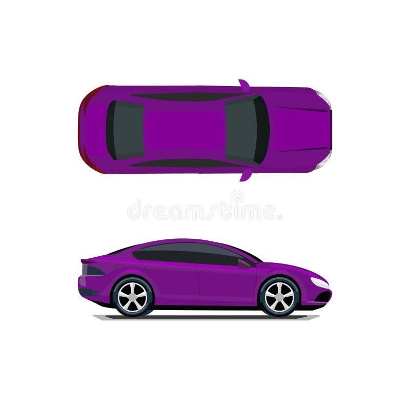 Purpurroter Mazda 3 SP Ansicht von oben genanntem und von der Seite Volumetrische Zeichnung ohne eine Masche und eine Steigung Lo lizenzfreie abbildung