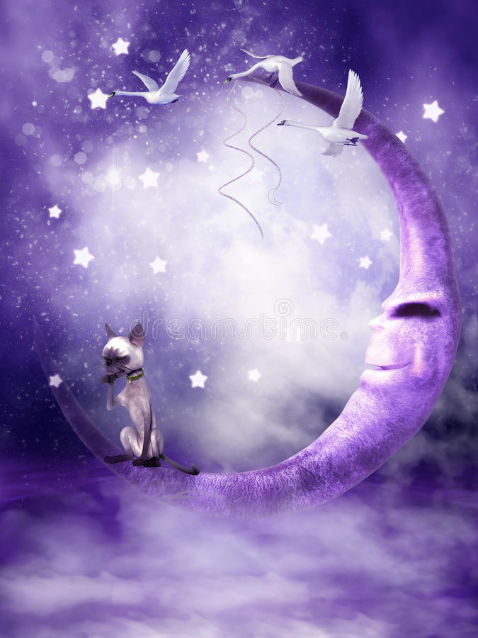 Purpurroter Mond mit einer Katze stock abbildung