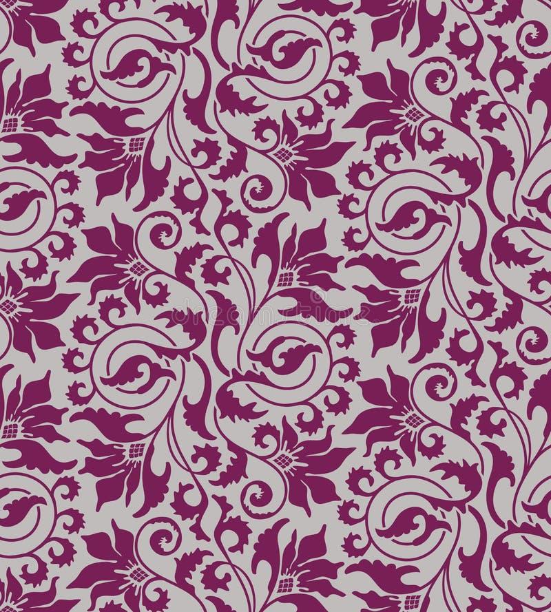 Purpurroter nahtloser Blumendamasthintergrund lizenzfreie abbildung