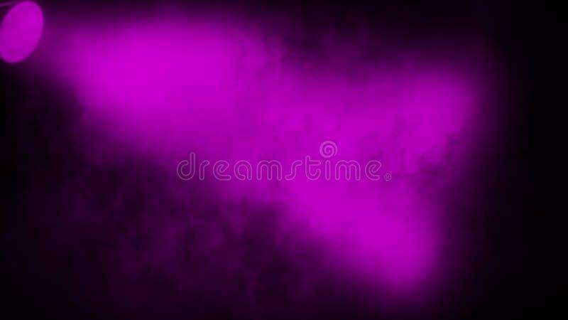 Purpurroter Projektor Scheinwerferstadium mit Rauche auf schwarzem Hintergrund Vektorbild, Abbildung lizenzfreie stockfotos