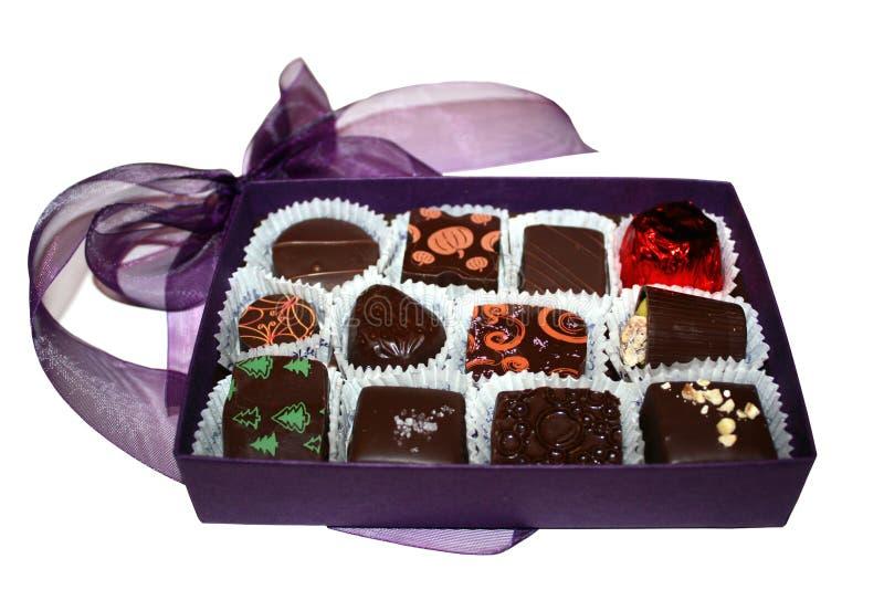Purpurroter Schokoladen-Kasten lizenzfreie stockbilder