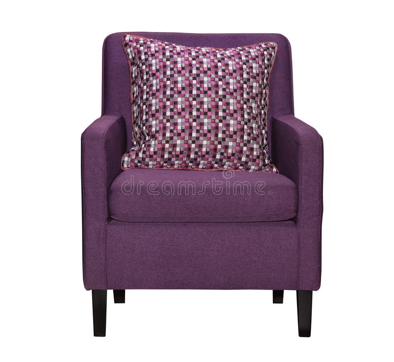 Purpurroter Textilstuhl lokalisiert lizenzfreies stockfoto