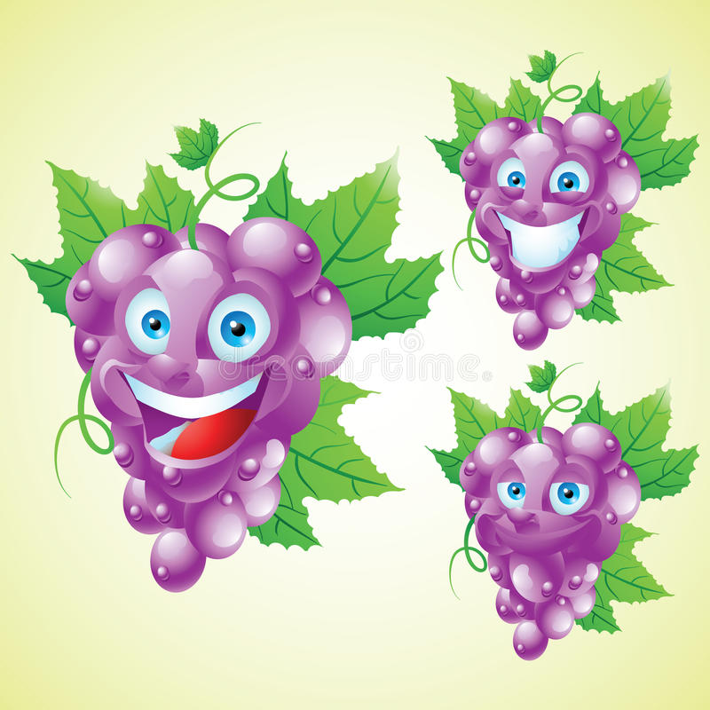 Purpurroter Traubengesichtsausdruck-Karikaturzeichensatz vektor abbildung