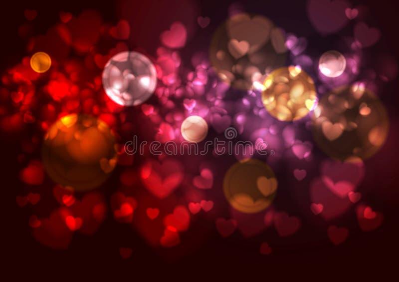 Purpurroter und roter Hintergrund mit unscharfen Herzen und vektor abbildung
