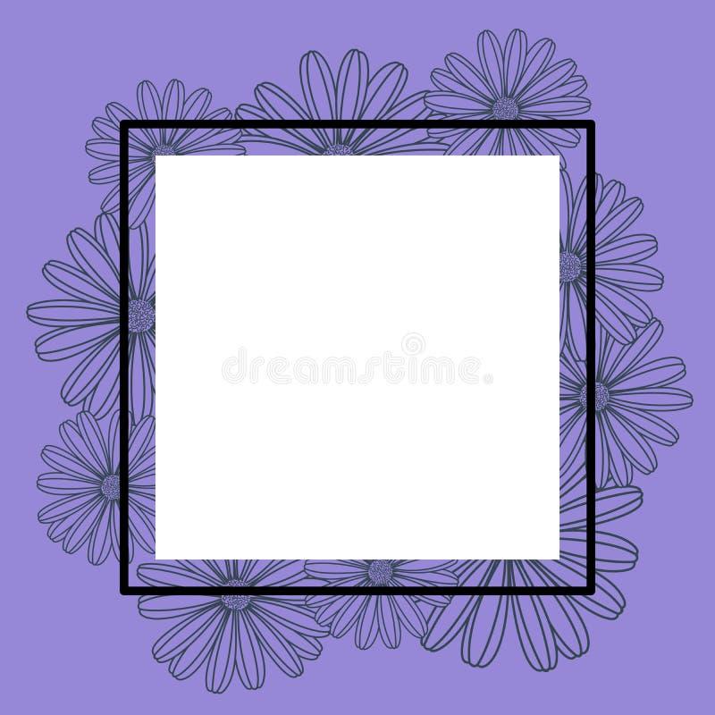 Purpurroter Vektorrahmen-Fahnenmit blumenhintergrund stock abbildung
