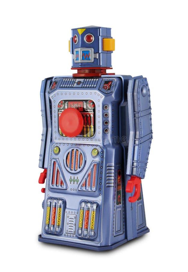 Purpurroter Zinn-Spielzeug-Roboter stockfotografie