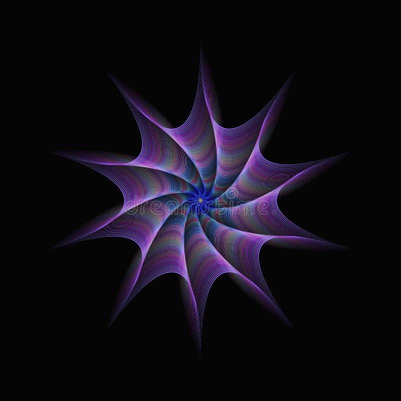 Purpurrotes abstraktes verdrehtes Stern Fractaldesign stock abbildung