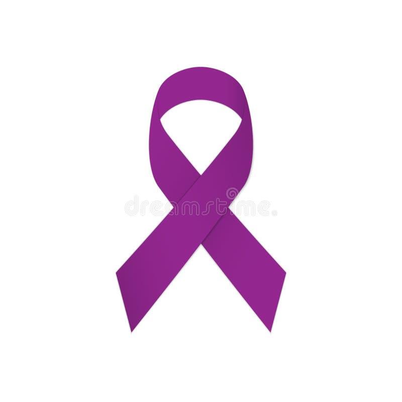 Purpurrotes Band auf einem weißen Hintergrund Hodenkrebs stock abbildung