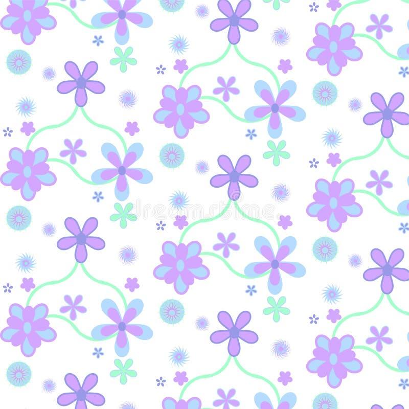 Purpurrotes blaues einfaches Blumenpastellmuster lizenzfreie abbildung