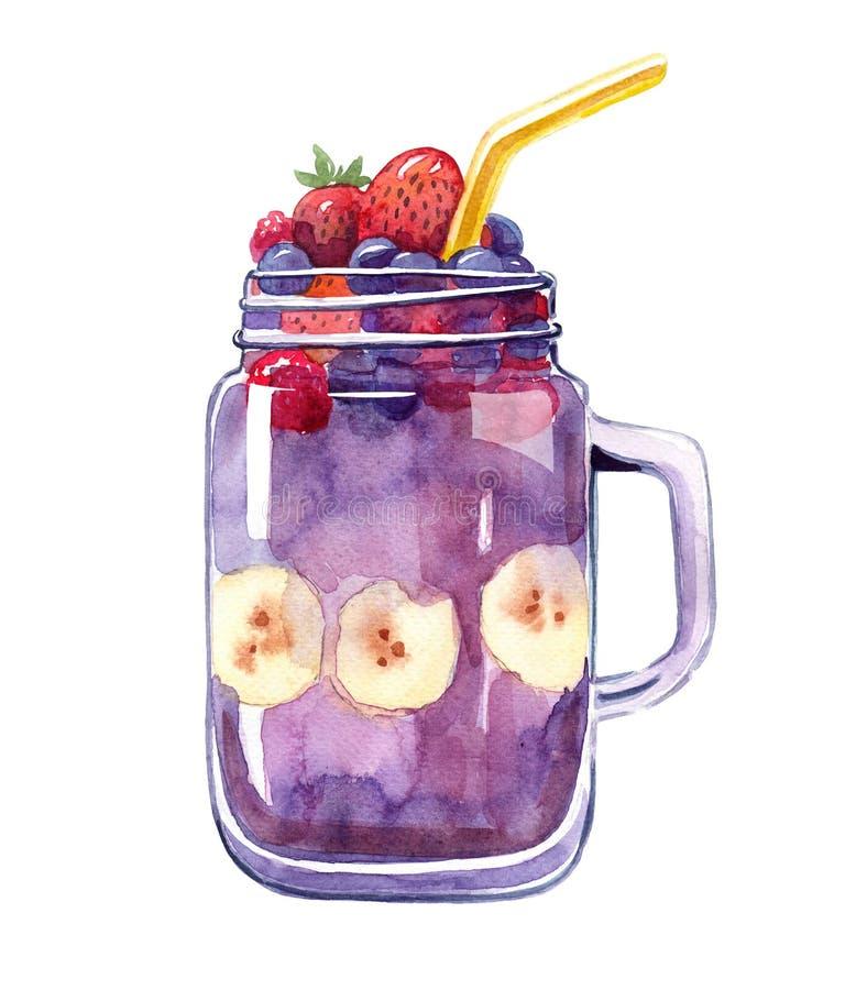 Purpurrotes Cocktail oder Smoothie mit berryes und Banane sices lizenzfreie stockfotografie
