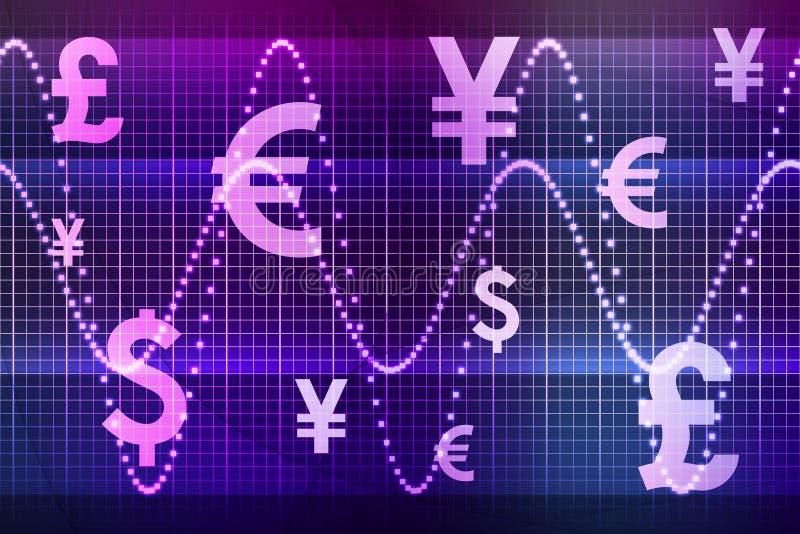 Purpurrotes Finanzsektor-globales Bargeld stock abbildung