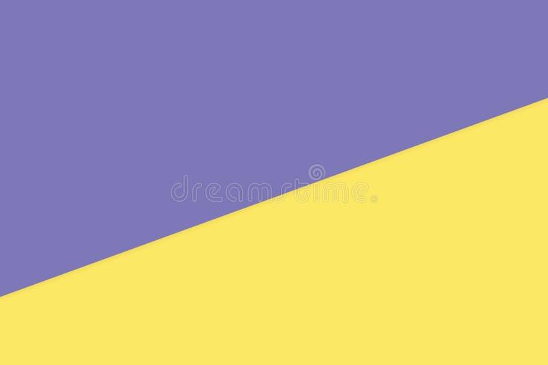 Purpurrotes Gelb zwei färben weichen Papierpastellhintergrund, minimale Ebenenlageart für moderne Kosmetikpastellfarbdraufsicht lizenzfreie abbildung