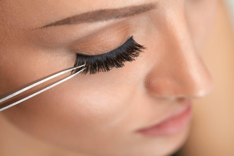 Purpurrotes Make-up und bunte helle Nägel Frau, die schwarze falsche Wimpern mit Pinzette anwendet stockbilder