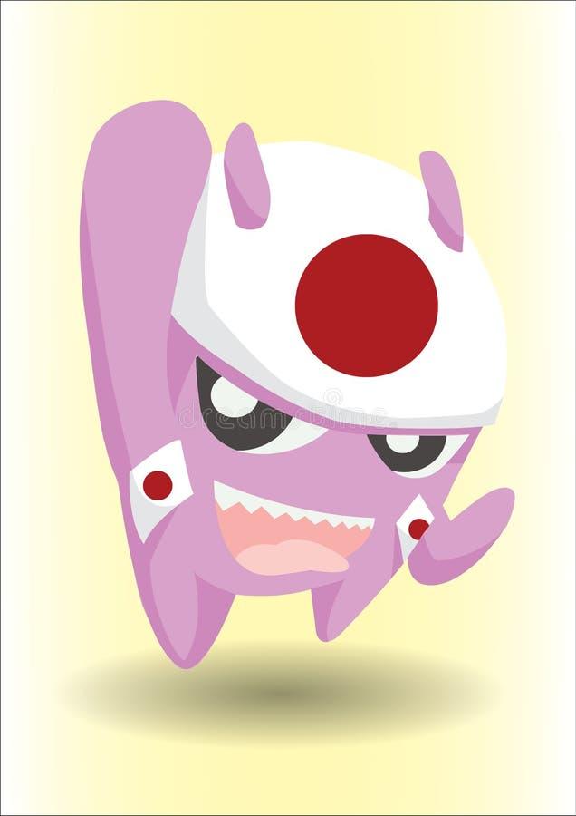 Purpurrotes Monster mit Japan-Flaggen-Stirnband lizenzfreies stockbild